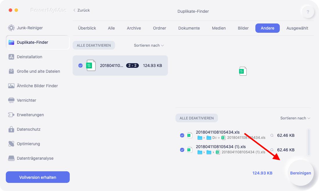 Reinigen Sie doppelte Dateien auf dem Mac