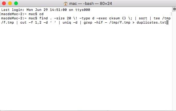 Doppelte Datei mit dem Terminalbefehl suchen