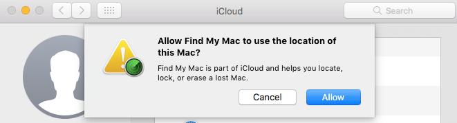 Einrichten von Find My Mac