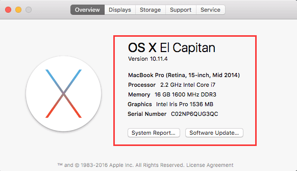 Informationen zu diesem Mac OS X El