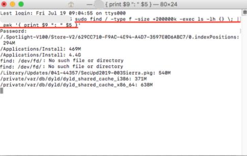 Suchen Sie große Dateien auf dem Mac über das Terminal