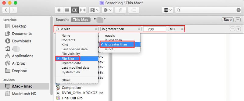 Finden Sie große Dateien auf dem Mac im Finder